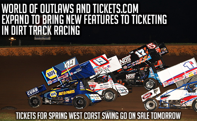 World Of Outlaws Partnership With Tickets.com Set To Provide Fans With Expanded Ticketing Options Never Before Accessible In Dirt Racing, Including Mobile And Print-At-Home